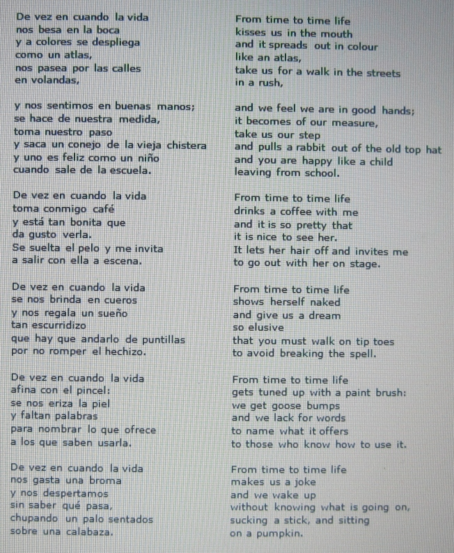 De Vez En Cuando La Vida Joan Manuel Serrat Lyrics And
